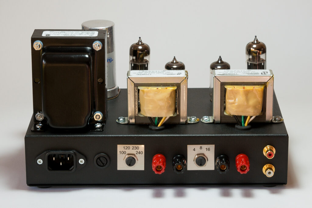 Model 1955 Gen2 EL84 single ended stereo tube amp rear view