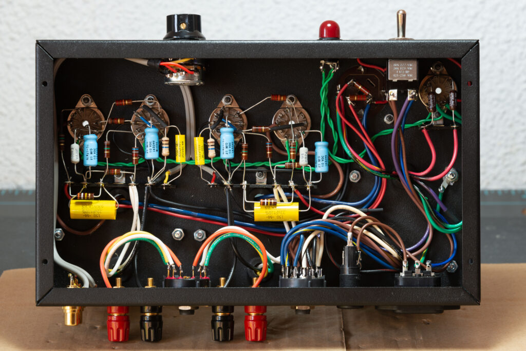 Model 1955 Gen2 EL84 single ended stereo tube amp point-to-point wired chassis bottom view