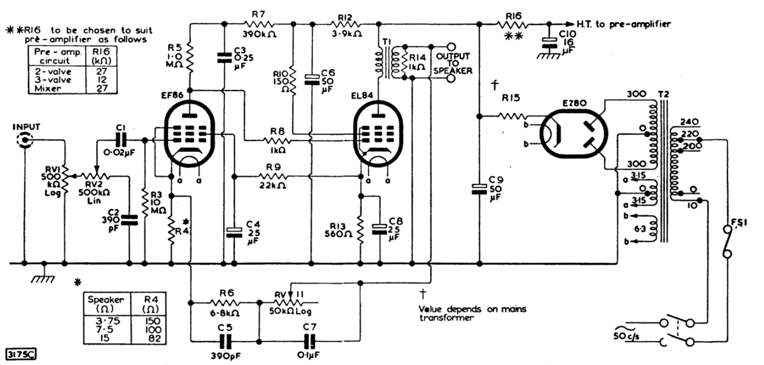 3W Single Ended Class-A Stereo Tube Amplifier – HEATED CATHODE | Tube Amp Schematics |  | HEATED CATHODE